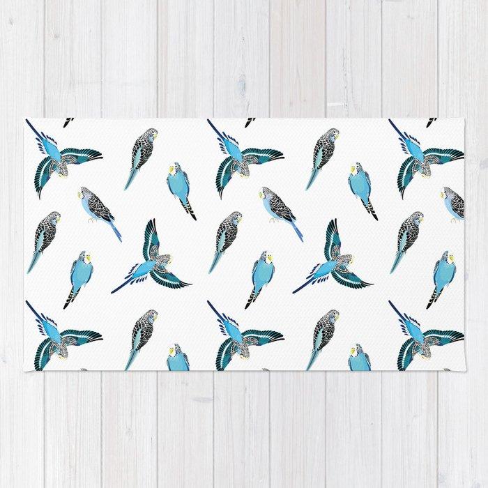 wave parrots pattern Rug