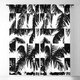 Palm Leaf Pattern Black Blackout Curtain