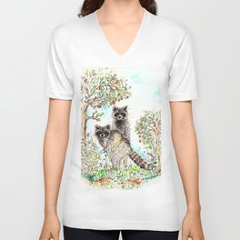 Raccoons in the Forest (color edition) Unisex V-Neck