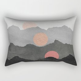 Abstract Mountains // Shades of Black and Grey Landscape Full Metallic Gold Moon Rectangular Pillow