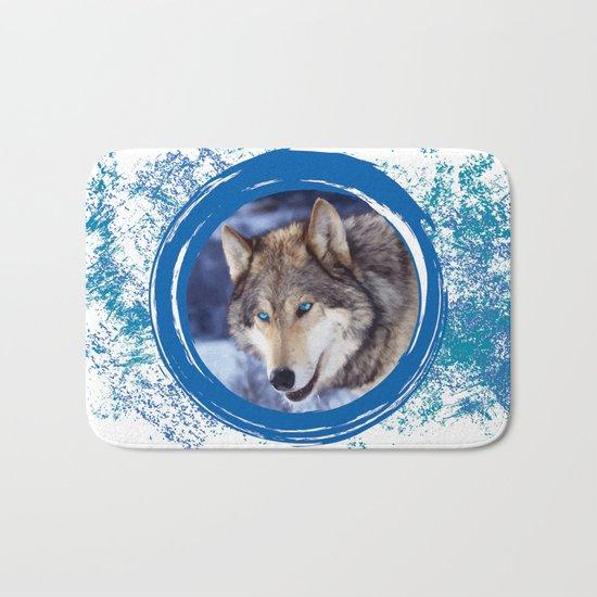 Blue-Eyed Wolf Bath Mat
