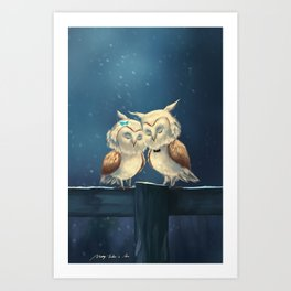 owl in love Art Print