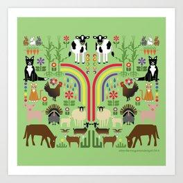 Noah's Farm Animals Art Print