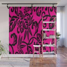 Hot Pink & Black Japanese Leaf Pattern Wall Mural