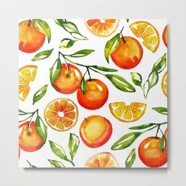 oranges watercolor tangerine fruit print Metal Print