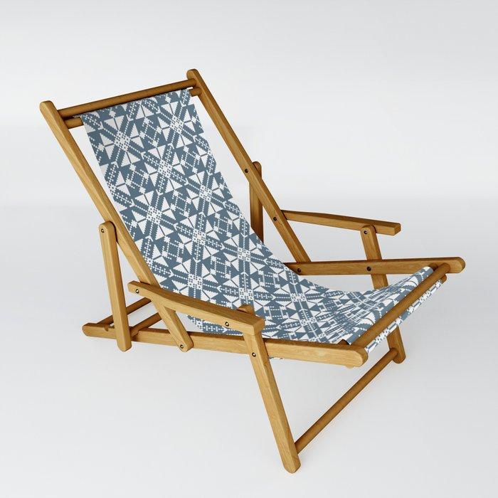 Blue Folk Sling Chair