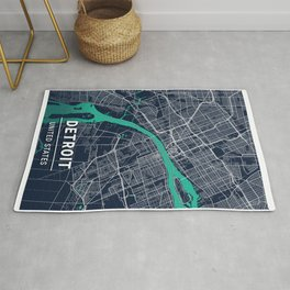 Detroit Blue Dark Color City Map Rug