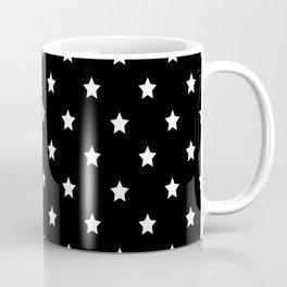 Black Background With White Stars Pattern Coffee Mug