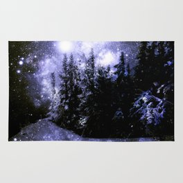 Galaxy Winter Forest Periwinkle Gray Rug