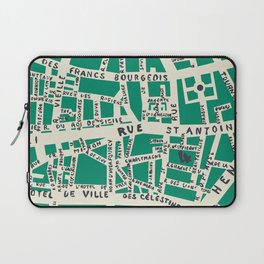 PARIS MAP GREEN Laptop Sleeve