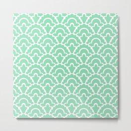 Fan Pattern Mint Green 109 Metal Print