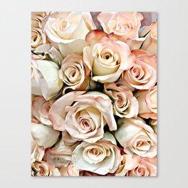 Delicate Peach Roses Canvas Print