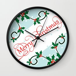 Merry Christmas with Holly Berries corners Wall Clock