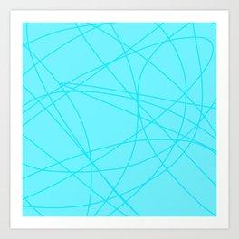 Spring Blue Lines Pattern Art Print