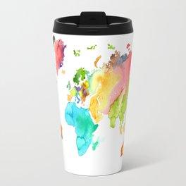 Watercolor World Travel Mug