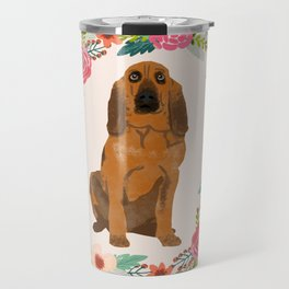 bloodhound floral wreath dog gifts pet portraits Travel Mug