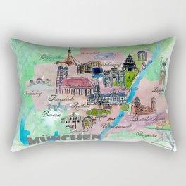 Munich Map Travel Poster Overview Best Of Typical Highlights Rectangular Pillow