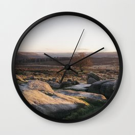 Owler Tor rock formations at sunset. Derbyshire, UK. Wall Clock