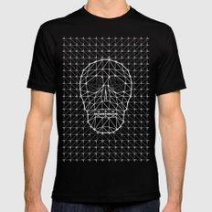 Triangle and Line Art Skull MEDIUM Black Mens Fitted Tee