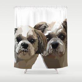 Frankie and Jessie the Shih Tzu dogs Shower Curtain