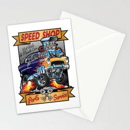 Speed Shop Hot Rod Muscle Car Parts and Service Vintage Cartoon Illustration Stationery Cards