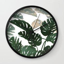 green leaves monstera Wall Clock