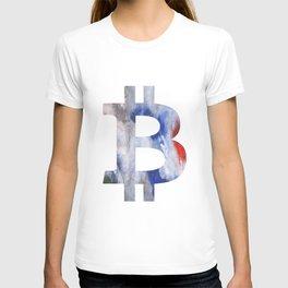 Bitcoin Bright multicolored nebulous watercolor T-shirt