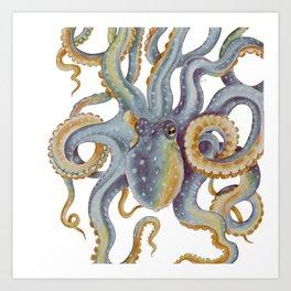 Octopus Tentacles Steel Blue Watercolor Art Art Print
