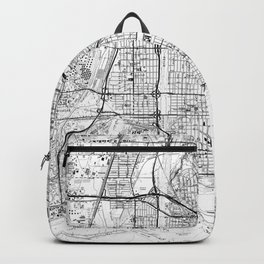 Vintage Map of Long Beach California (1964) BW Backpack