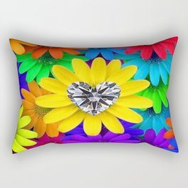 Colorful Flowers With Heart-shaped Diamond Rectangular Pillow