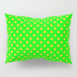 Smiley Happy in yellow color on a green background - EFS172 Pillow Sham
