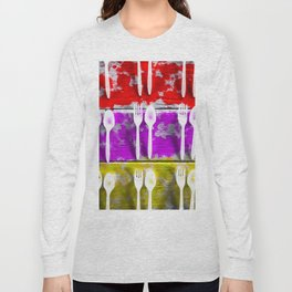 fork and spoon with splash painting texture abstract background in pink red yellow Long Sleeve T-shirt