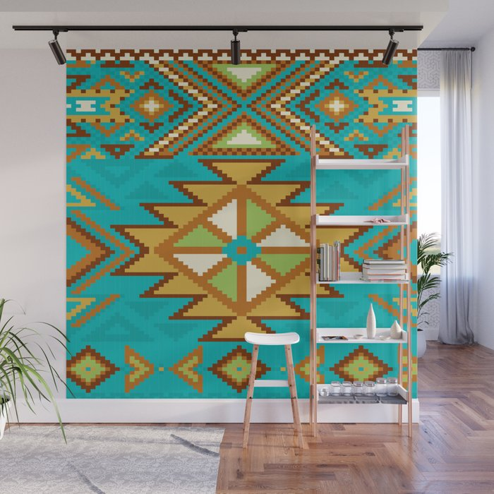 Turquoise Rug Pattern Wall Mural