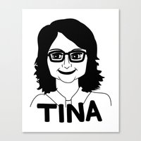 tina fey Canvas Prints featuring Tina Fey by Flash Goat Industries