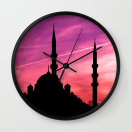 mosque silhouette istanbul Wall Clock