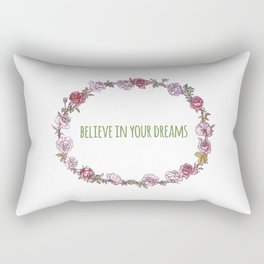 Believe in your dreams - Inspirational Quote + Vintage Illustration Print Rectangular Pillow