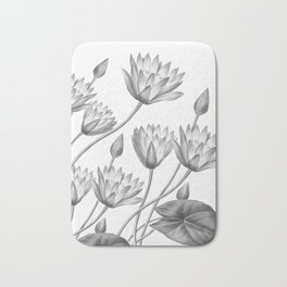 Water Lily Black And White Bath Mat