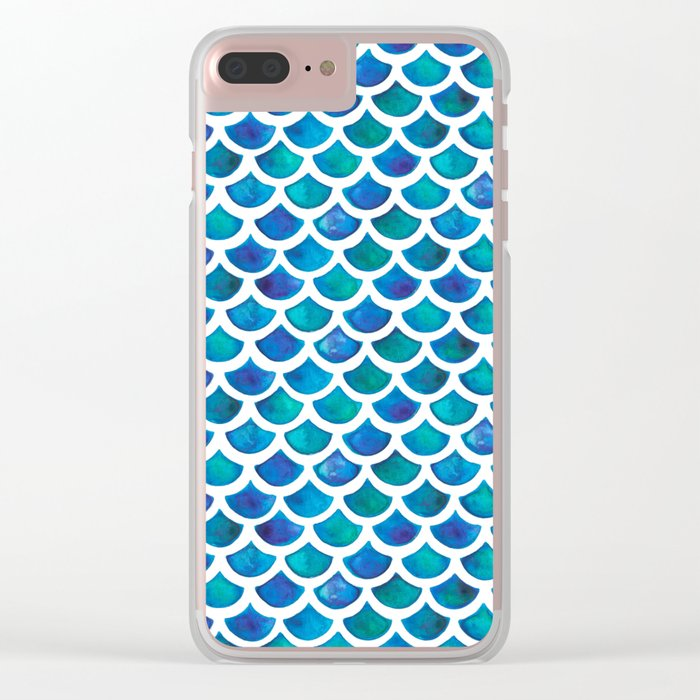 Blue Mermaid Scales Clear iPhone Case