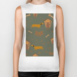 Seamless Dog Pattern with trail and doghouses Biker Tank