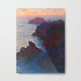 Claude Monet Impressionist Landscape Oil Painting Sunset At Sea Cliffs Ocean Cliff Landscape Metal Print