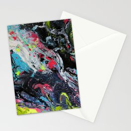 Colorful Abstract Fluid Acrylic Painting 2 Stationery Cards