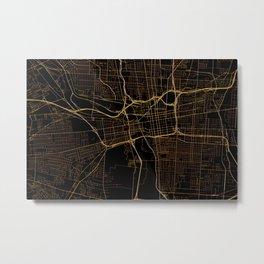 Black and gold Columbus map, Ohio Metal Print
