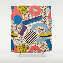 Memphis Inspired Pattern 3 Shower Curtain