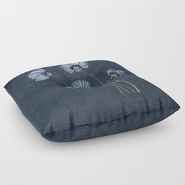 Blue Wildflowers Lineart Grunge Bohemean Romance Floor Pillow