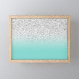 Modern Girly Faux Silver Glitter Ombre Teal Ocean Color Block Framed Mini Art Print