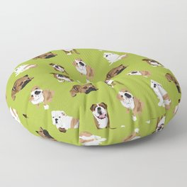 Bulldogs on Moss Floor Pillow