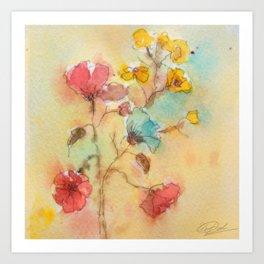 Vintage flowers (watercolor) Art Print