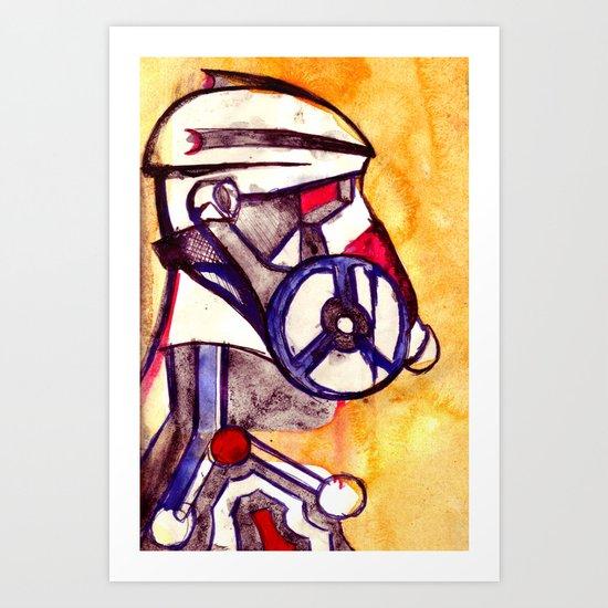 Gas Masked Soldier V2 Art Print