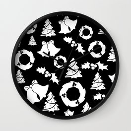 Classic Christmas in Black and White Wall Clock