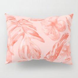 Tropical Dream Palm Leaves Deep Pink Pillow Sham